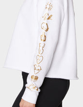 BETSEYS LIST CUTOFF HOODIE WHITE - APPAREL - Betsey Johnson