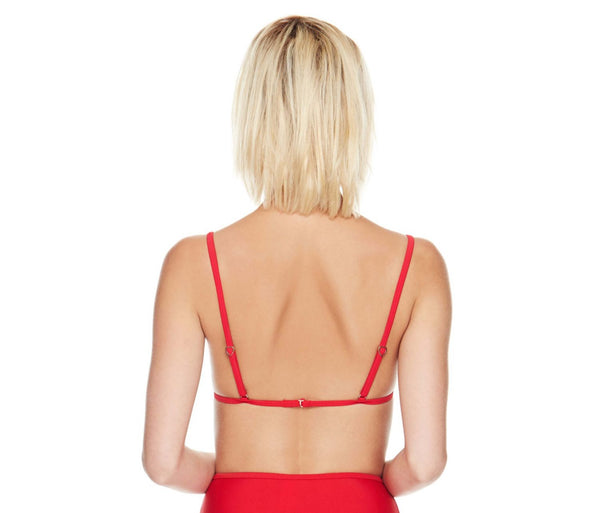 BETSEYS MALIBU SOLIDS TRIANGLE TOP RED - APPAREL - Betsey Johnson
