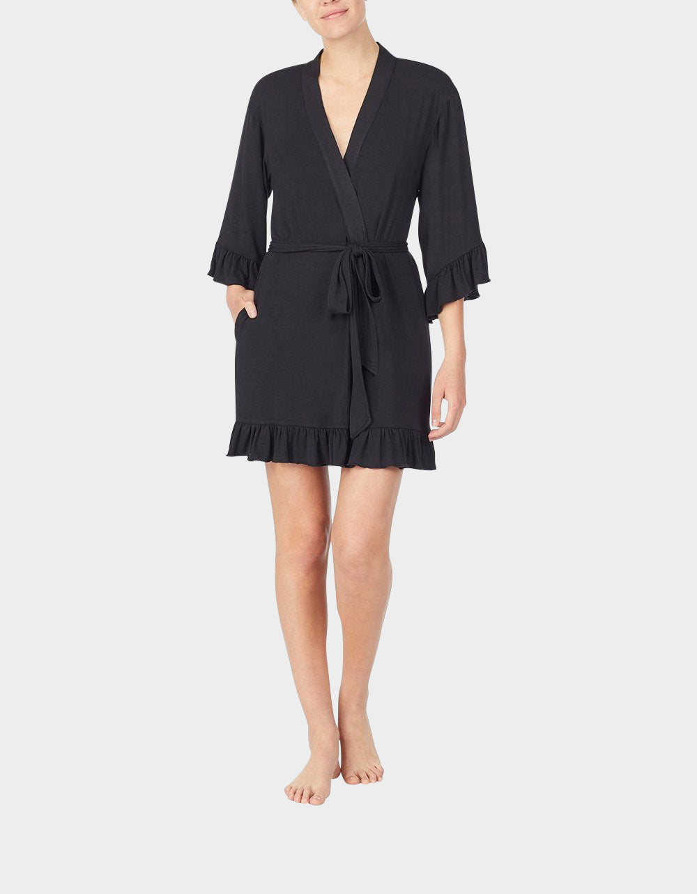 BETSEYS NEW RAYON KNIT ROBE BLACK - APPAREL - Betsey Johnson