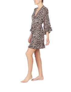 BETSEYS NEW RAYON KNIT ROBE LEOPARD