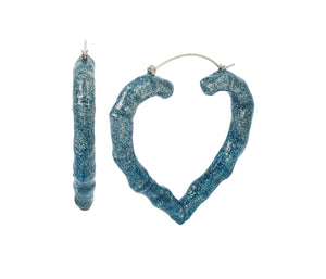 BETSEYS OMBRE HEART HOOP EARRINGS TEAL