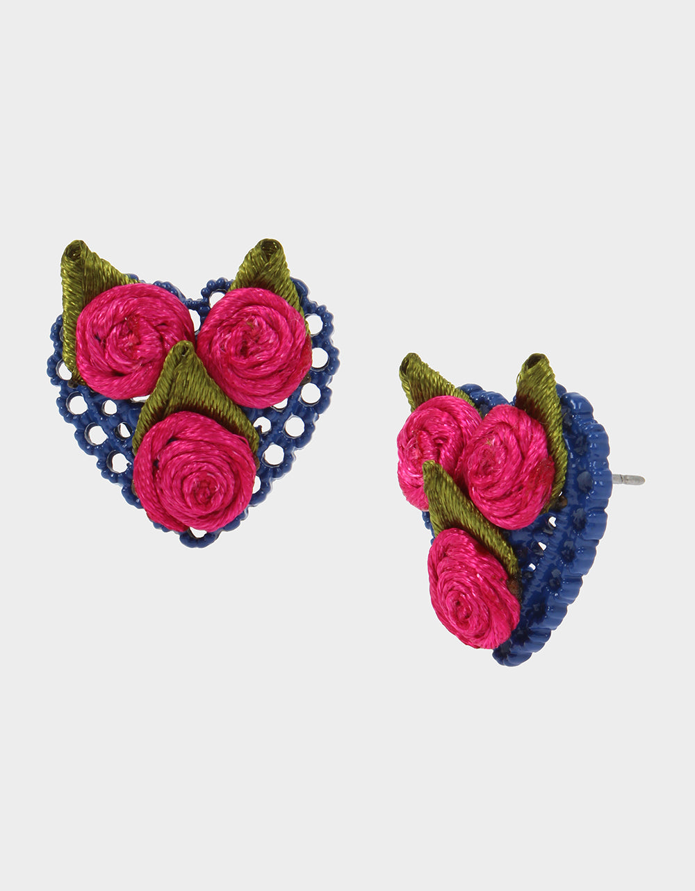 BETSEYVILLA HEART BUTTON EARRINGS PINK - JEWELRY - Betsey Johnson