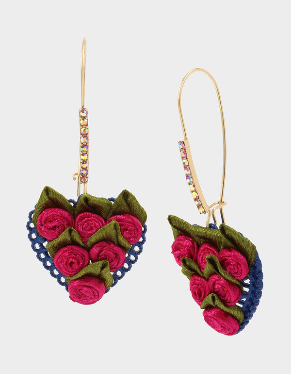 BETSEYVILLA HEART HOOK EARRINGS PINK - JEWELRY - Betsey Johnson