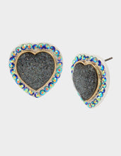 BETSEYVILLA HEART STUD EARRINGS BLUE - JEWELRY - Betsey Johnson