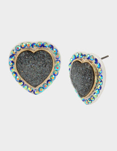 BETSEYVILLA HEART STUD EARRINGS BLUE