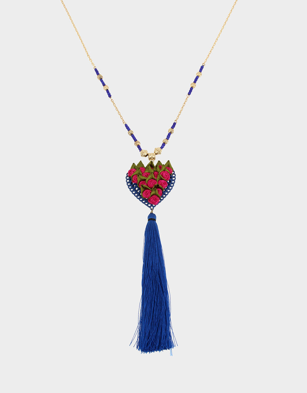 BETSEYVILLA HEART TASSEL PENDANT BLUE - JEWELRY - Betsey Johnson