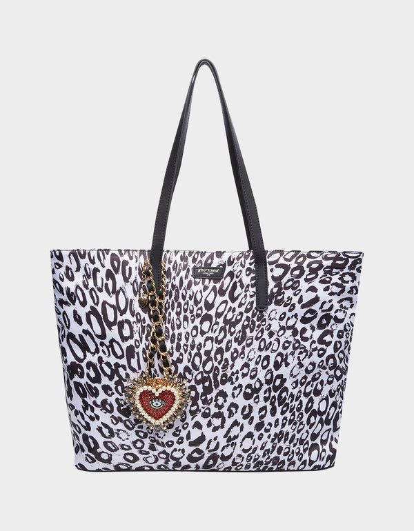 BETSIFIED TOTE WITH NECKLACE CHARM BLACK/WHITE - HANDBAGS - Betsey Johnson