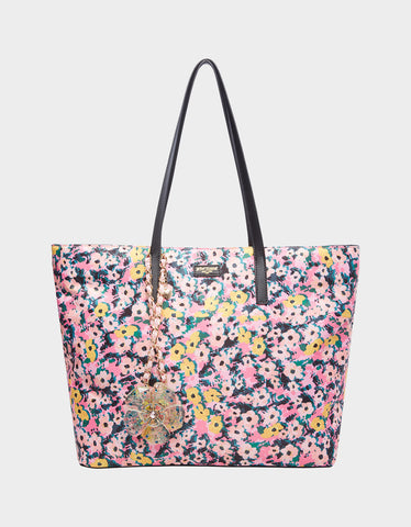 BETSIFIED TOTE WITH NECKLACE CHARM FLORAL