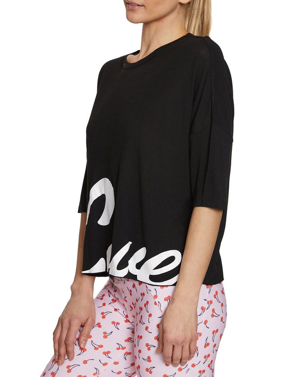 BIG LOVE CROP TEE BLACK - APPAREL - Betsey Johnson