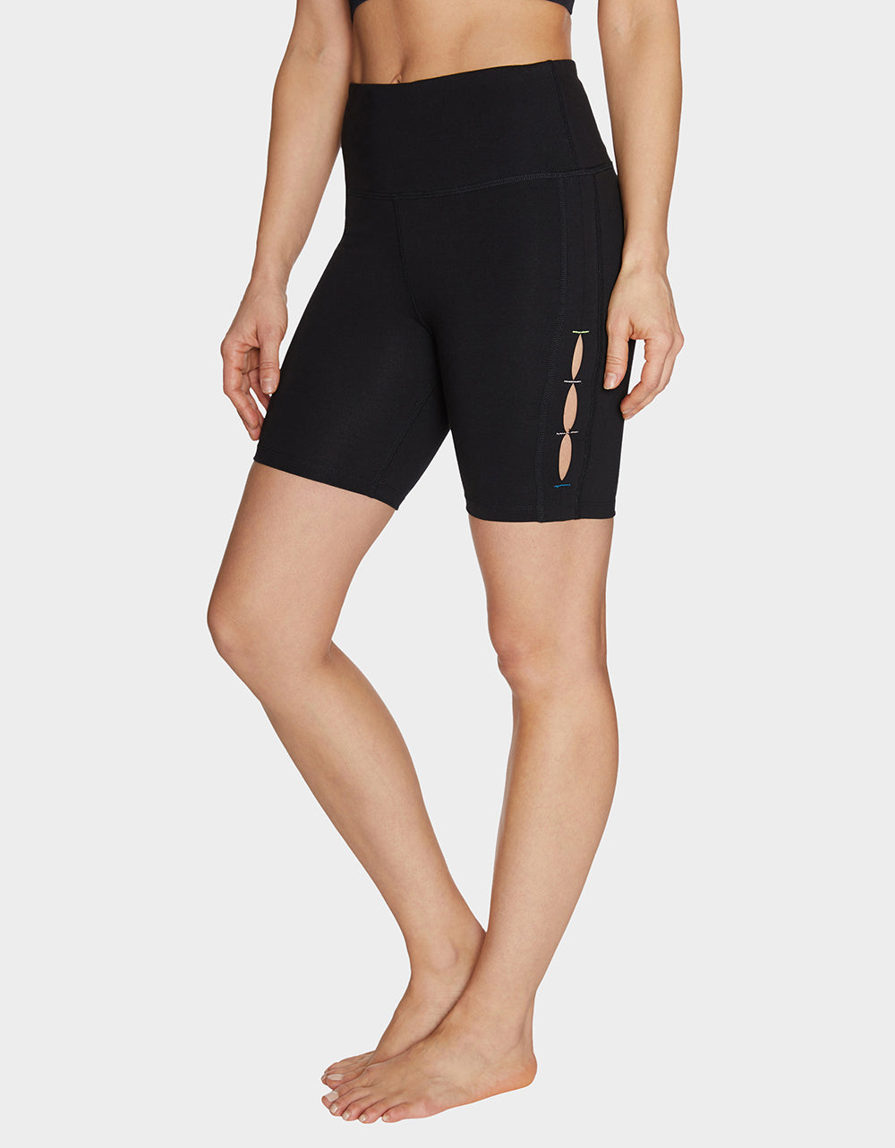 BIKE SHORTS WITH SIDE SLITS BLACK - APPAREL - Betsey Johnson