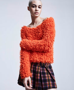 BJ VINTAGE SHAG TO IT SWEATER ORANGE