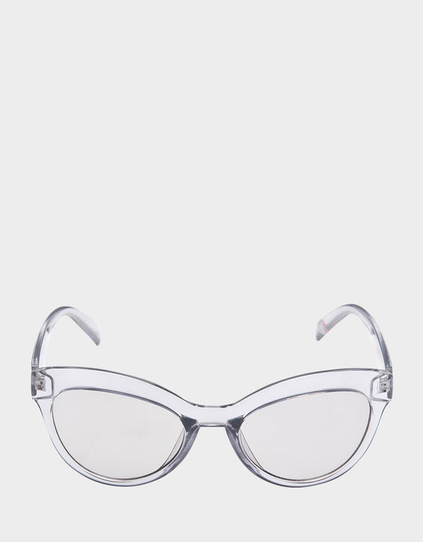 CRYSTAL CLEAR CAT EYE SUNGASSES GREY - ACCESSORIES - Betsey Johnson
