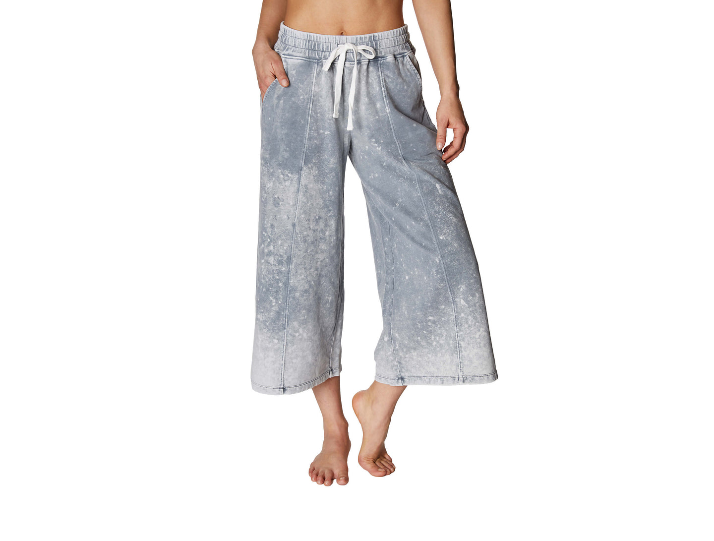 BLEACH WASH FLARED CROP SWEATPANT SILVER - APPAREL - Betsey Johnson