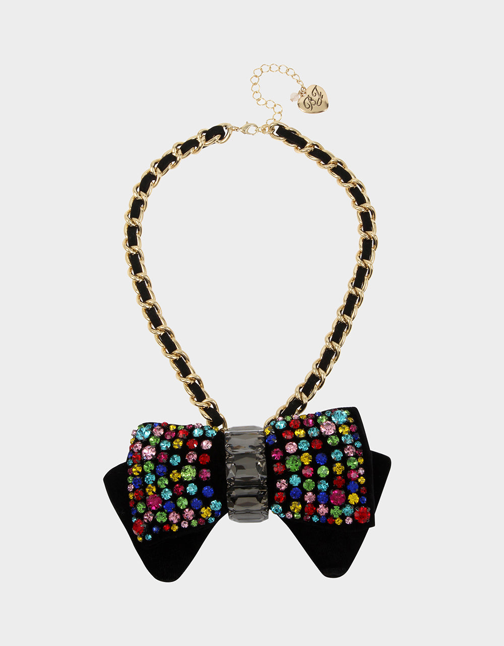 BLING THING BOW PENDANT RAINBOW MULTI - JEWELRY - Betsey Johnson