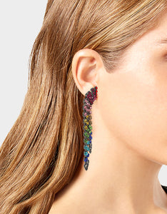 BLING THING FRINGE CLIP EARRINGS RAINBOW MULTI