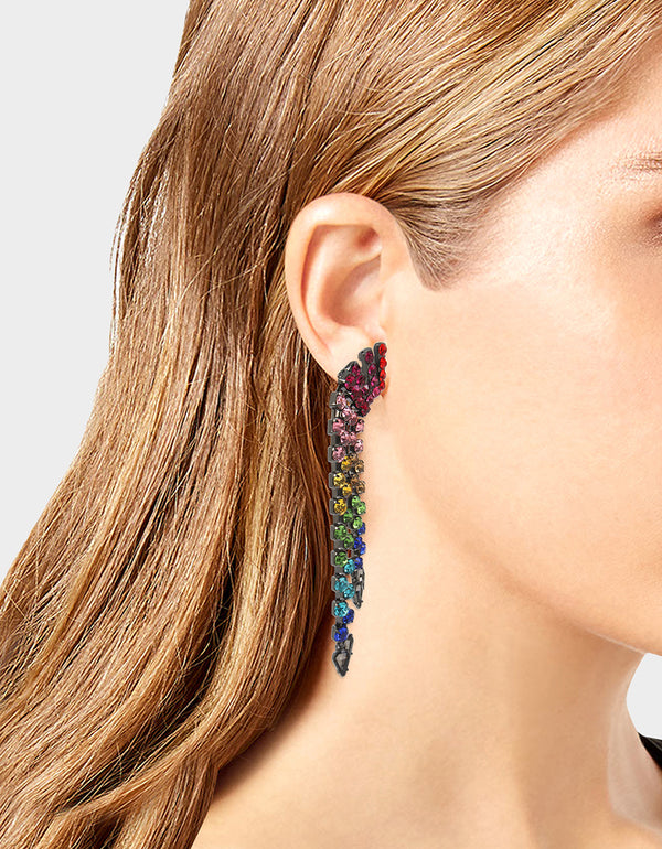 BLING THING FRINGE CLIP EARRINGS RAINBOW MULTI - JEWELRY - Betsey Johnson