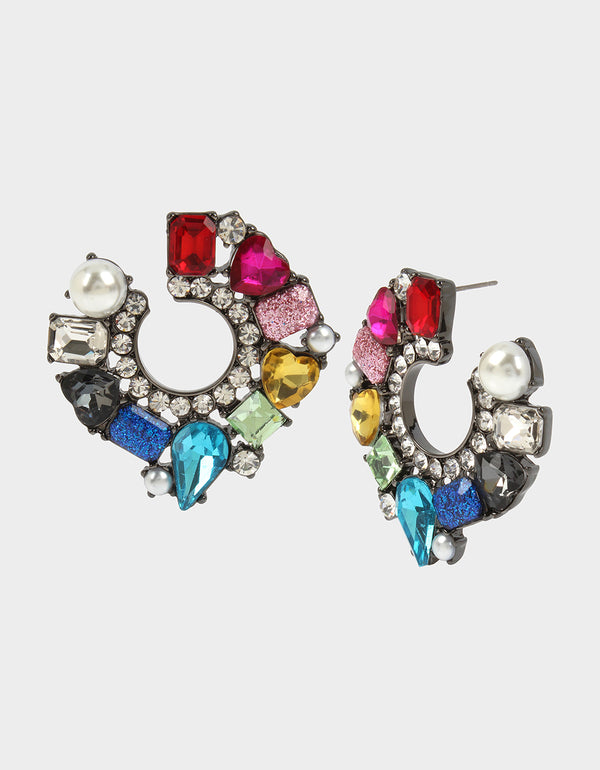 BLING THING FRONT BACK HOOP EARRINGS RAINBOW MULTI - JEWELRY - Betsey Johnson