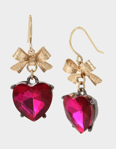 BLING THING HEART DROP EARRINGS FUCHSIA