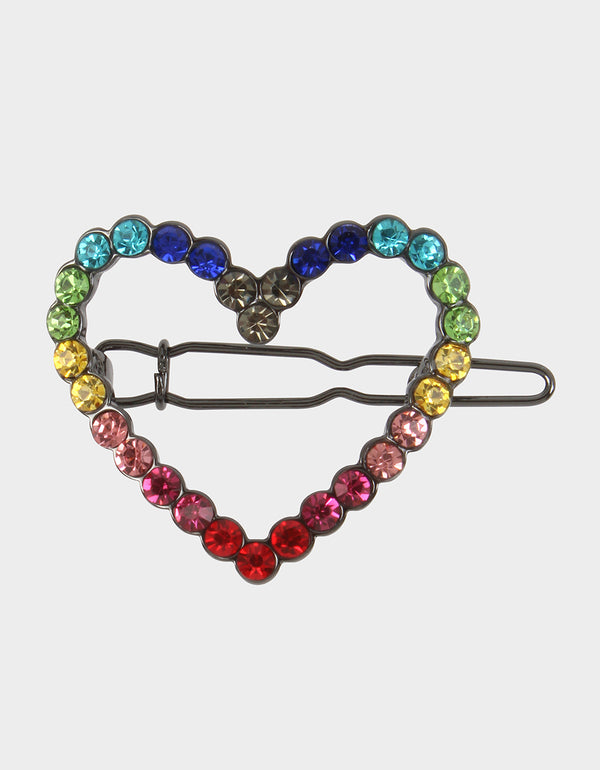 BLING THING HEART HAIR CLIP RAINBOW MULTI - JEWELRY - Betsey Johnson