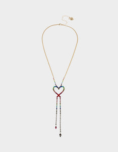 BLING THING HEART OPENS NECKLACE RAINBOW MULTI