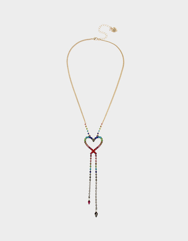 BLING THING HEART OPENS NECKLACE RAINBOW MULTI - JEWELRY - Betsey Johnson