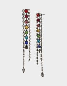 BLING THING LINEAR EARRINGS RAINBOW MULTI