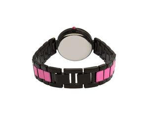 BLINGED OUT ENAMELED WATCH PINK
