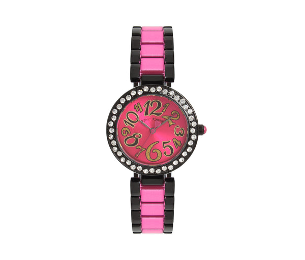 BLINGED OUT ENAMELED WATCH PINK - JEWELRY - Betsey Johnson