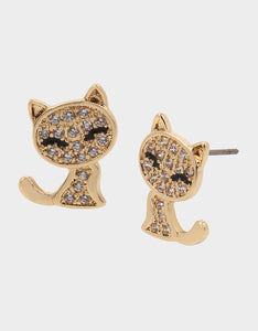 BOO CAPSULE CZ KITTY STUDS CRYSTAL