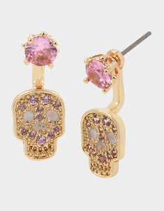 BOO CAPSULE CZ SKULL FRONT BACK EARRINGS PINK