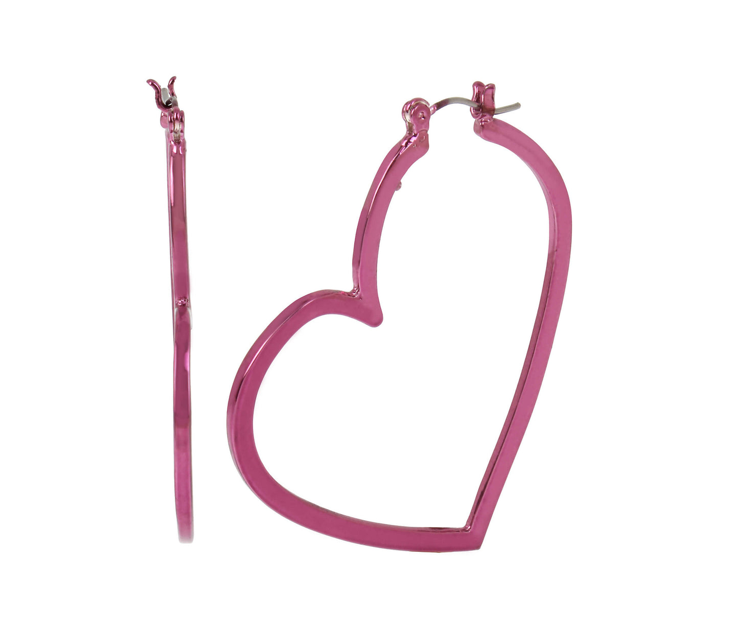 BOOM HOOP HEART HOOPS FUCHSIA - JEWELRY - Betsey Johnson