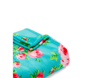 BOUQUET A DAY ULTRA SOFT PLUSH THROW TURQUOISE MULTI