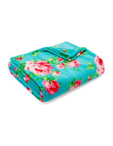BOUQUET DAY FULL-QUEEN BLANKET TURQUOISE