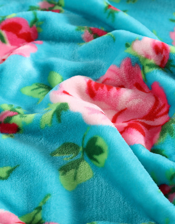 BOUQUET DAY FULL-QUEEN BLANKET TURQUOISE - BEDDING - Betsey Johnson
