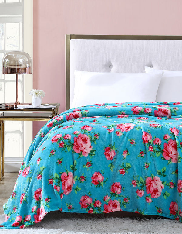 BOUQUET DAY KING BLANKET TURQUOISE - BEDDING - Betsey Johnson
