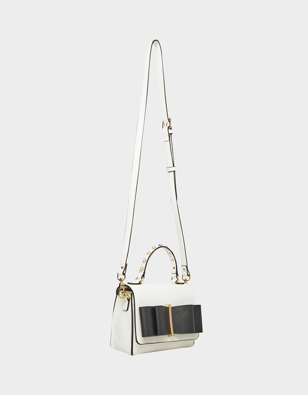 BOWING OUT CROSSBODY BLACK-WHITE - HANDBAGS - Betsey Johnson