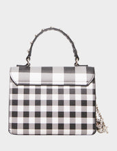 BOWING OUT GINGHAM CROSSBODY BLACK-WHITE - HANDBAGS - Betsey Johnson