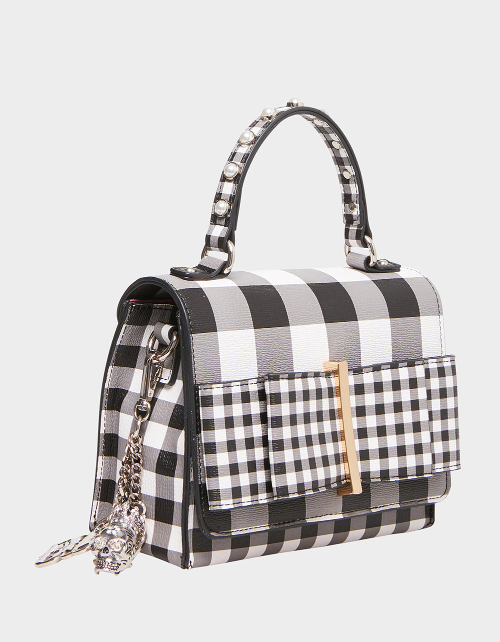 Betsey Johnson BOWING OUT GINGHAM CROSSBODY BAG in BLACK-WHITE