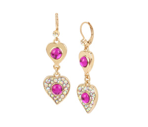 BREAKING HEARTS DOUBLE DROP EARRINGS PINK