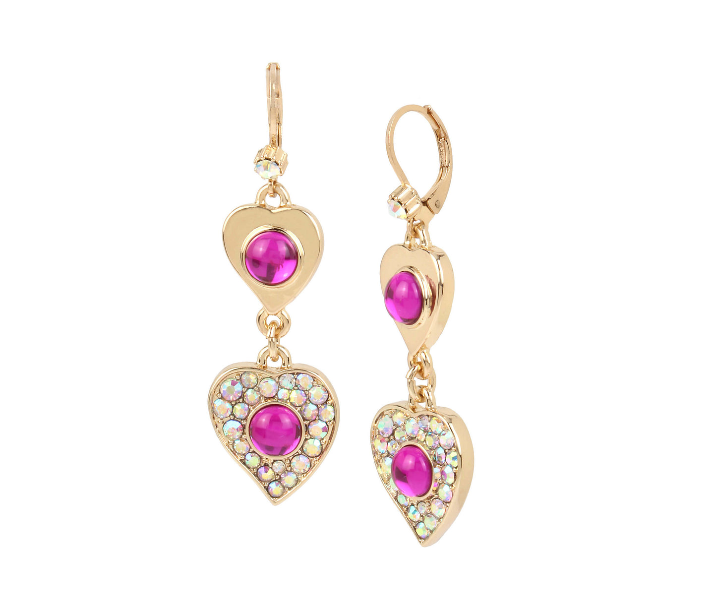BREAKING HEARTS DOUBLE DROP EARRINGS PINK - JEWELRY - Betsey Johnson