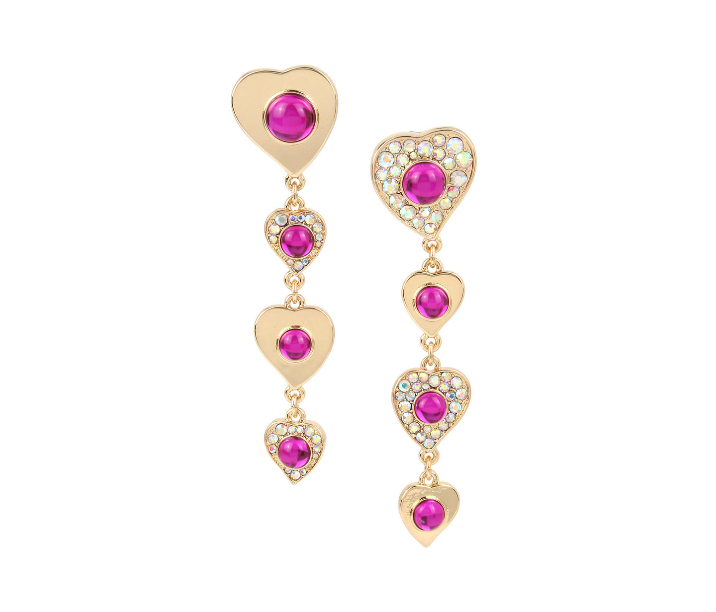 BREAKING HEARTS LINEAR EARRINGS PINK - JEWELRY - Betsey Johnson