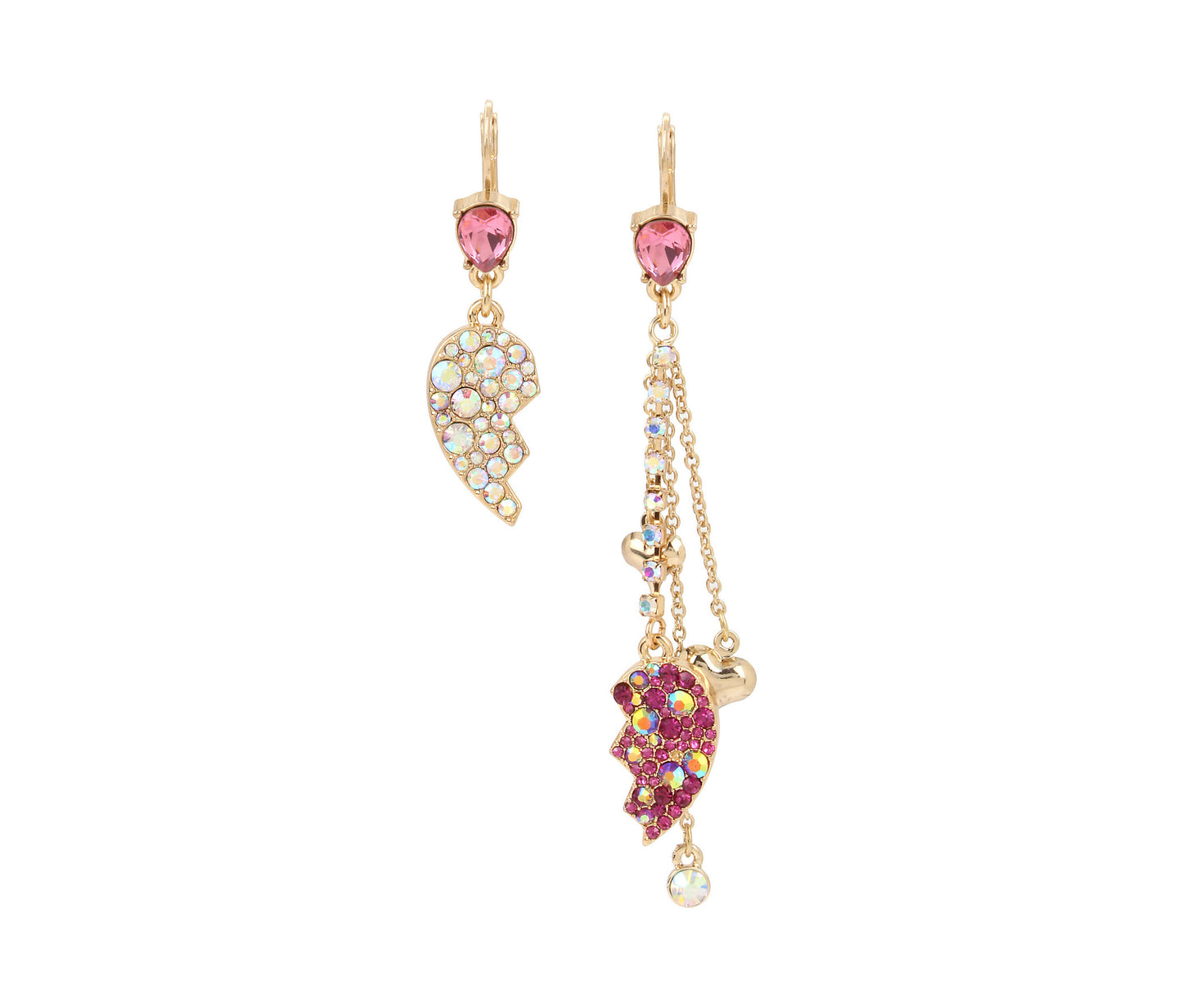 BREAKING HEARTS MISMATCH EARRINGS PINK - JEWELRY - Betsey Johnson