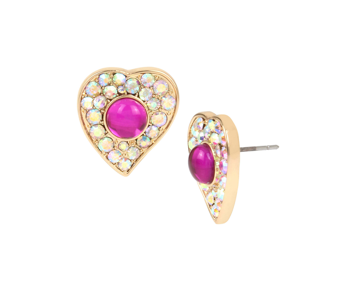 BREAKING HEARTS STUD EARRINGS PINK - JEWELRY - Betsey Johnson