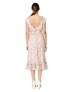 BUG GARDEN TEA LENGTH DRESS CREAM MULTI