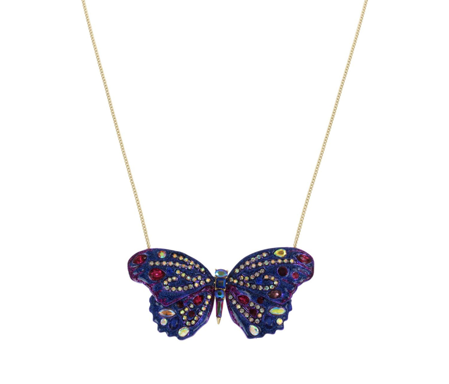 BUTTERFLY BLITZ LONG PENDANT PURPLE - JEWELRY - Betsey Johnson