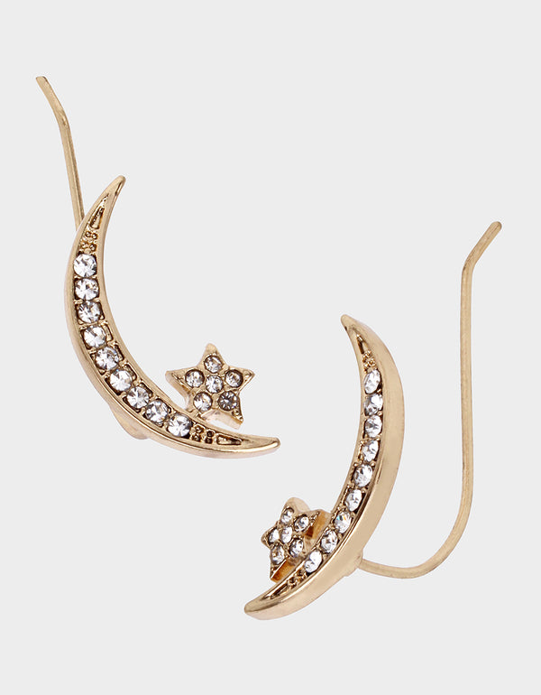 CELESTIAL PAVE MOON CRAWLER CRYSTAL - JEWELRY - Betsey Johnson