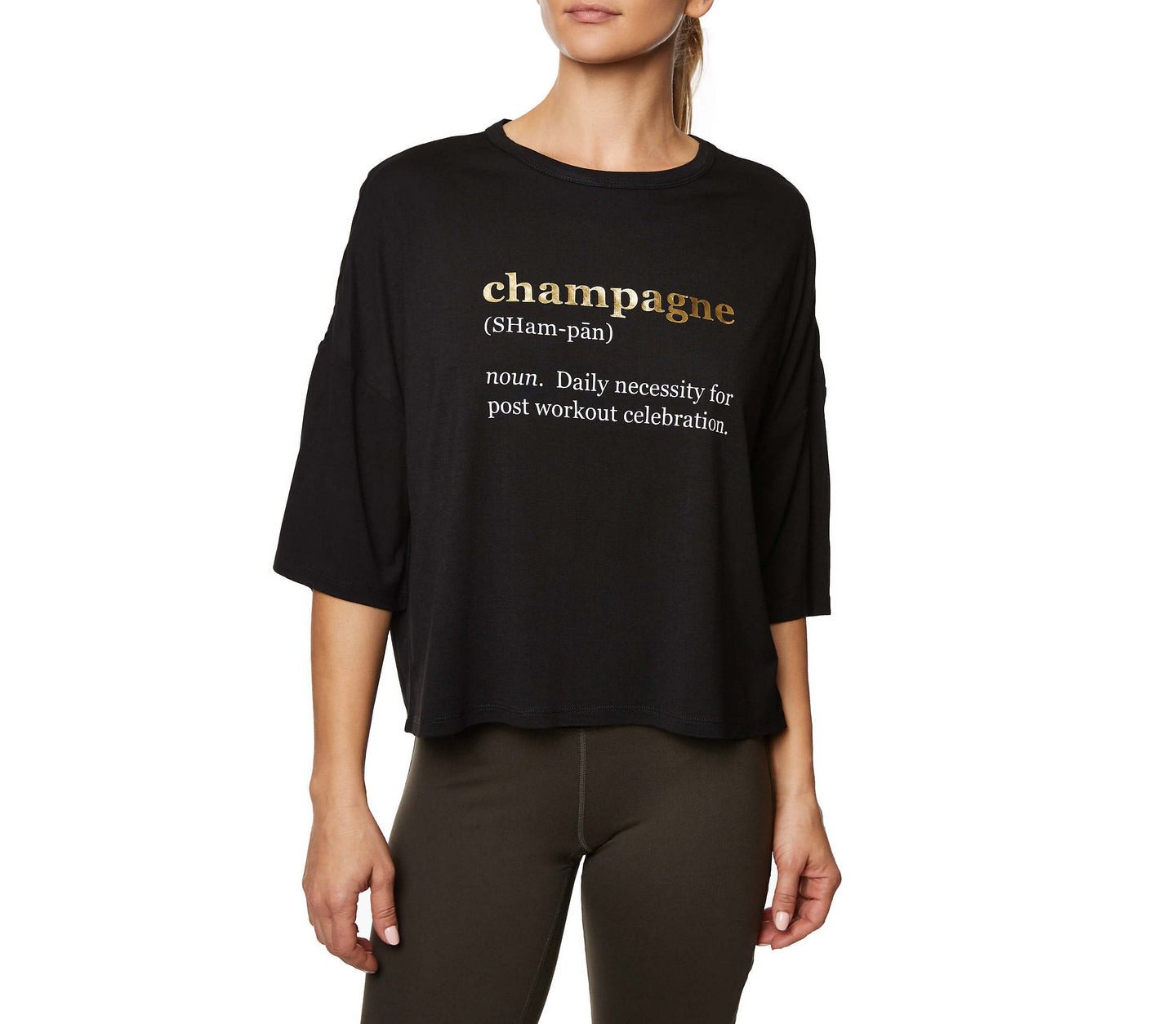 CHAMPAGNE DAILY BOXY TEE BLACK - APPAREL - Betsey Johnson
