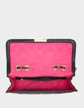 CHARMING PEARL SWAG FLAP BAG BLACK - HANDBAGS - Betsey Johnson