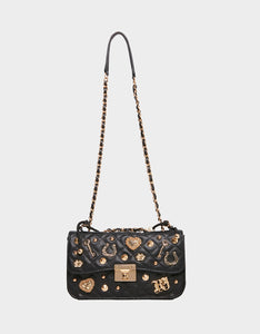 CHARMING PEARL SWAG FLAP BAG BLACK