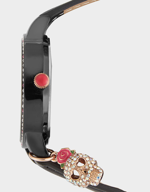 CHARMING SKULL WATCH BLACK - JEWELRY - Betsey Johnson